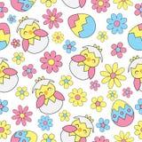 Nahtloser Hintergrund Ostern mit nettem Küken, Eiern und Blumen Lizenzfreies Stockbild