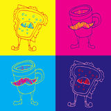 Nahtloser Hintergrund Pop-Arten-Kaffee und ein Cheeseburger Stockfotos