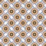 Nahtloser Hintergrund quadratische Kontrollder runden Geometrieblume Lizenzfreie Stockfotos