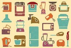 Nahtloser Hintergrund von den Ikonen von Küchenausgangsapp Stockfotos