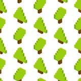 Nahtloser Hintergrund von isometrischen Bäumen Vektorillustration in p Stockfotos