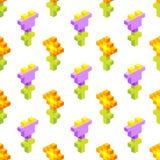 Nahtloser Hintergrund von isometrischen Blumen Lizenzfreies Stockfoto