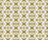 Nahtloser Hintergrund Weinlesedes goldenen runden ovalen Querblumenmusters Stockfotografie