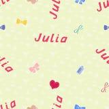 Nahtloser Hintergrundmustername Julia vom neugeborenen Namenbaby Julia Nahtloser Name Julia Julia-Vektor Stockfoto
