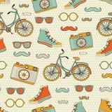 Nahtloser Hippie Reise-Europas Hintergrund mit Platz für Text Lizenzfreie Stockbilder