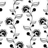 Nahtloser Holzschuh mit schwarzen Blumen und Beeren Lizenzfreies Stockfoto