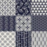 Nahtloser japanischer Mustersatz Stockbilder