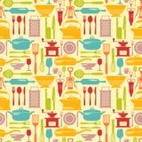Nahtloser Küchenvektorhintergrund mit flachen Ikonen Stockfotos