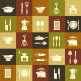 Nahtloser Küchenvektorhintergrund mit flachen Ikonen Lizenzfreies Stockfoto