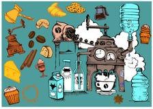 Nahtloser Kaffee und Frühstück Lizenzfreie Stockfotografie