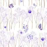 Nahtloser lila Wald Lizenzfreie Stockbilder