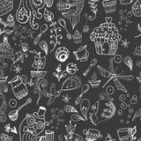 Nahtloser lustiger Teezeithintergrund, Gekritzelillustration Stockfotos