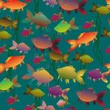 Nahtloser mehrfarbiger Goldfischhintergrund vektor abbildung