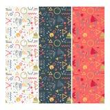 Nahtloser Memphis Design Pattern Set Lizenzfreie Stockbilder