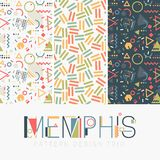 Nahtloser Memphis Design Pattern Set Stockfoto