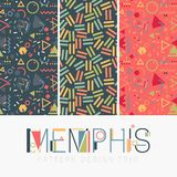 Nahtloser Memphis Design Pattern Set Stockfotos