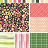 Nahtloser mit Blumenhintergrund. Überprüfen Sie Streifen-Dot Seamless-Muster. Se Lizenzfreie Stockbilder