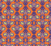 Nahtloser mit Blumenhintergrund. Abstrakte orange und violette geometrische nahtlose mit Blumenbeschaffenheit Lizenzfreies Stockfoto