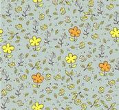 Nahtloser mit Blumenhintergrund mit den gelben und orange Blumen Stock Abbildung