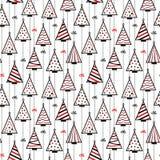Nahtloser Muster-Beschaffenheits-Hintergrund mit stilisierten Weihnachtsbäumen lizenzfreie abbildung