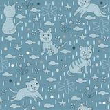 Nahtloser Muster-blaue Katzen-Tapeten-Hintergrund Lizenzfreie Stockfotografie