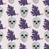 Nahtloser Muster Halloweens SCHÄDEL UND BLÄTTER lizenzfreie abbildung
