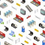Nahtloser Muster-Hintergrund-isometrische Ansicht der Metro-Stations-3d Vektor Stock Abbildung