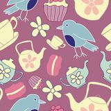 Nahtloser Muster-Hintergrund Vektor-dunkler rosa Garten-Tea Partys stock abbildung