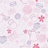 Nahtloser Muster-Hintergrund Vektor-Rosa-Garten-Tea Partys lizenzfreie abbildung