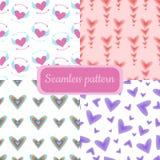 Nahtloser Muster-Satz Valentine Day Heartss vektor abbildung