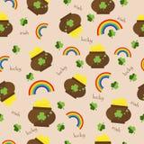 Nahtloser Muster Vektorgrün-Kleehintergrund Stockfotos