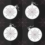 Nahtloser Muster Weihnachtsball und dekorative Schneeflocke Stockfotos