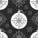 Nahtloser Muster Weihnachtsball und graue Schneeflocke Lizenzfreie Stockbilder