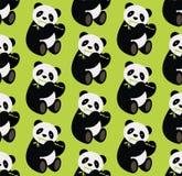 Nahtloser Muster whith Pandabär, der Bambus hält Auch im corel abgehobenen Betrag lizenzfreie abbildung