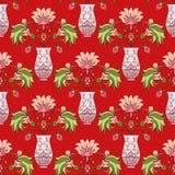 Nahtloser Musterblumenstrauß im Vase Lizenzfreies Stockfoto
