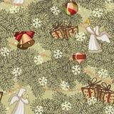 Nahtloser Musterentwurf Kartendekoration der frohen Weihnachten Guten Rutsch ins Neue Jahrauslegungselemente Weinlesehintergrund  vektor abbildung