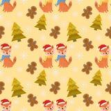 Nahtloser Musterfuchs im Wald mit Weihnachtsbaum und dool vektor abbildung