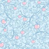 Nahtloser Musterhintergrund Apfelbaums vektor abbildung