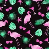Nahtloser Musterhintergrund der bunten Sommerelemente Flamingo, monstera Blätter, Cocktails und Sonnenbrille watercolor stock abbildung