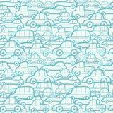Nahtloser Musterhintergrund der Gekritzelautos Lizenzfreies Stockbild