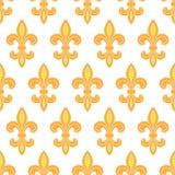 Nahtloser Musterhintergrund der goldenen Lilie Stockbild