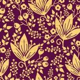 Nahtloser Musterhintergrund der purpurroten hölzernen Blumen Lizenzfreie Stockfotografie