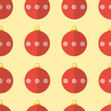 Nahtloser Musterhintergrund der roten Weihnachtsbälle Stockfotos