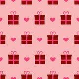 Nahtloser Musterhintergrund der Valentinsgruß-Tagesgeschenke und -herzen Lizenzfreie Stockfotos