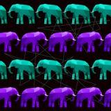 Nahtloser Musterhintergrund des abstrakten geometrischen Elefanten Lizenzfreie Stockfotografie