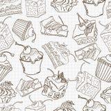 Nahtloser Musterhintergrund des Gekritzelkuchens Stockbilder