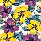 Nahtloser Musterhintergrund des Hibiscus und des tropischen Blattes lizenzfreie abbildung