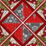 Nahtloser Musterhintergrund des Patchworks mit dekorativen Elementen Stockbilder