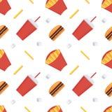 Nahtloser Musterhintergrund des Schnellimbisses Pommes-Frites, Soda, Cheeseburger Lizenzfreies Stockfoto