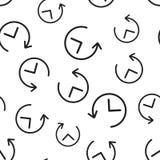Nahtloser Musterhintergrund des Uhrtimers Flacher Vektor IL des Geschäfts Lizenzfreie Stockfotografie